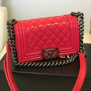 226699ed9976 Chanel Patent Leather Small Le boy Bag